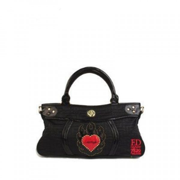 Ed Hardy Womens Bags Flame Heart Black Free