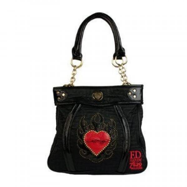 Ed Hardy Womens Bags Flame Heart Black Online Sale