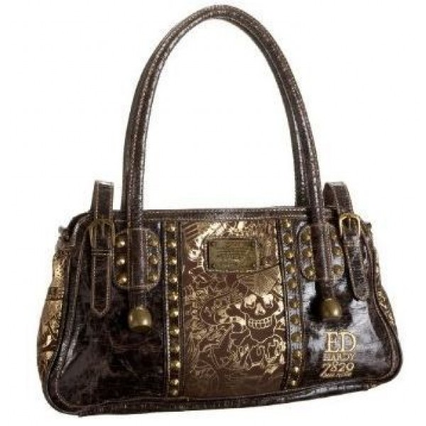 Ed Hardy Womens Bags Gold Love Kill Slowly Chocolate 02