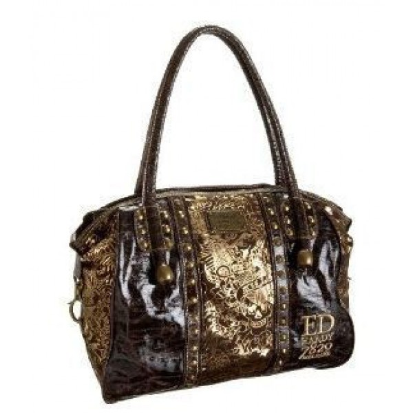 Ed Hardy Womens Bags Gold Love Kill Slowly Chocolate 04