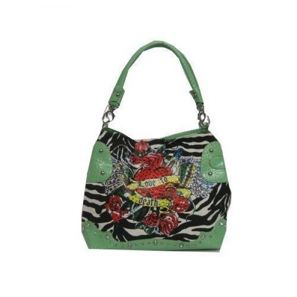 Ed Hardy Womens Bags Love To Die Green Tattoos