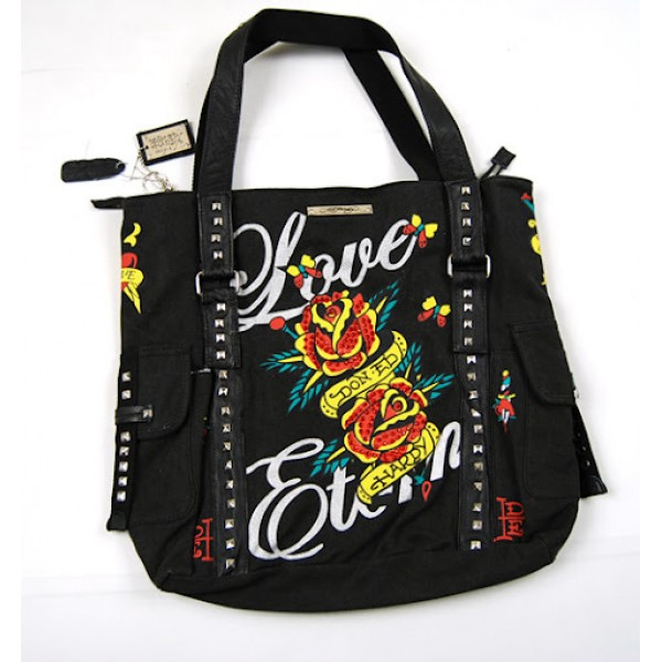 Ed Hardy Womens Bags Roses Love Is Black Classic