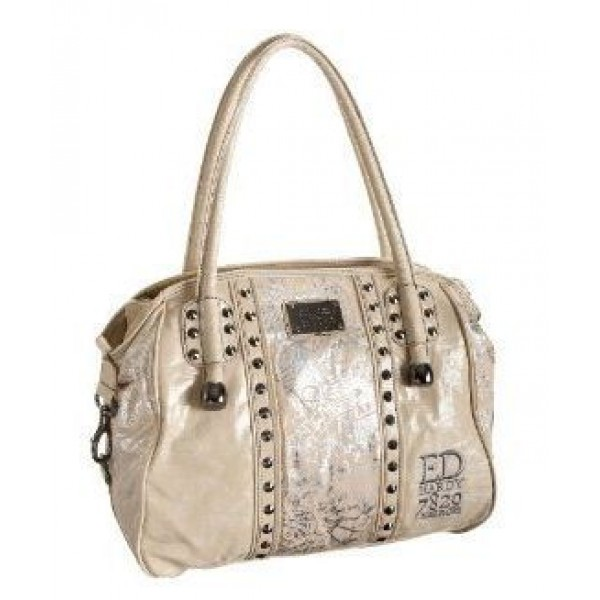 Ed Hardy Womens Bags Silver Print Ivory