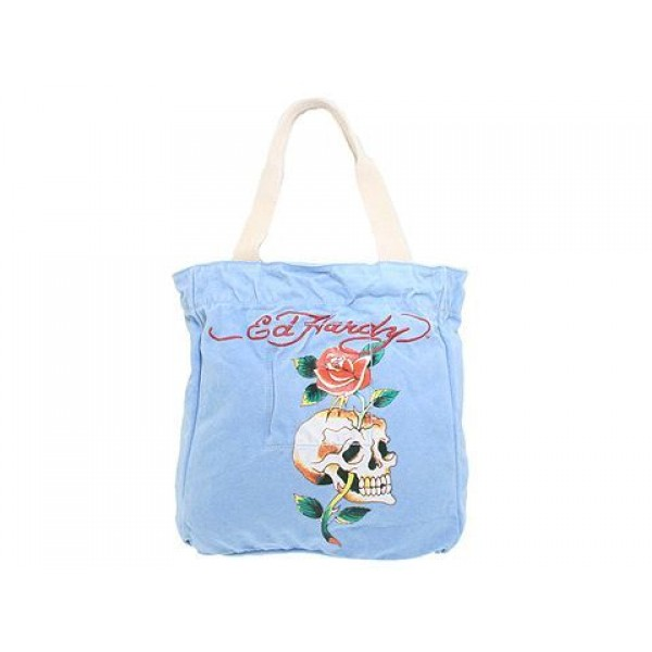 Ed Hardy Womens Bags Skull Rose Blue Discount