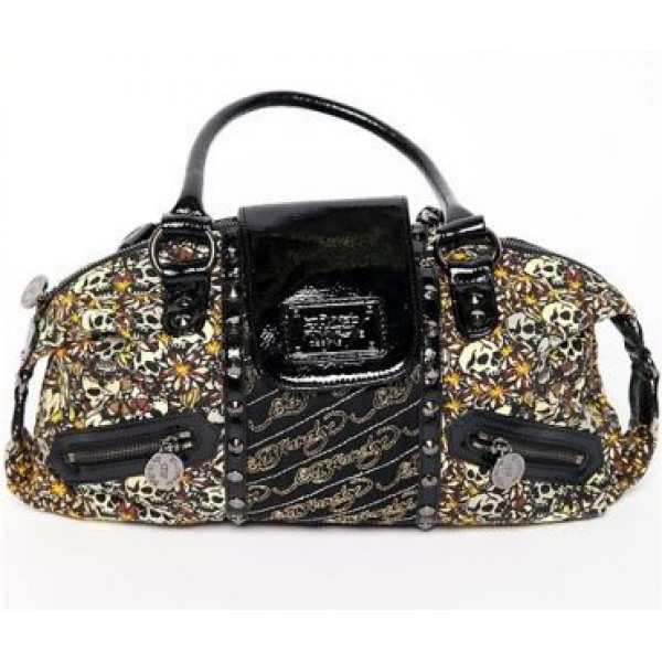Ed Hardy Womens Bags Skulls And Flowers Black Online