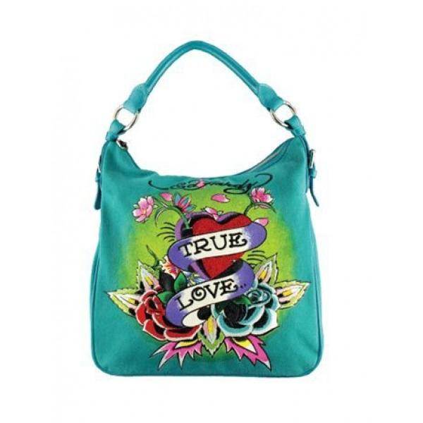 Ed Hardy Womens Bags True Love Light Blue Sales