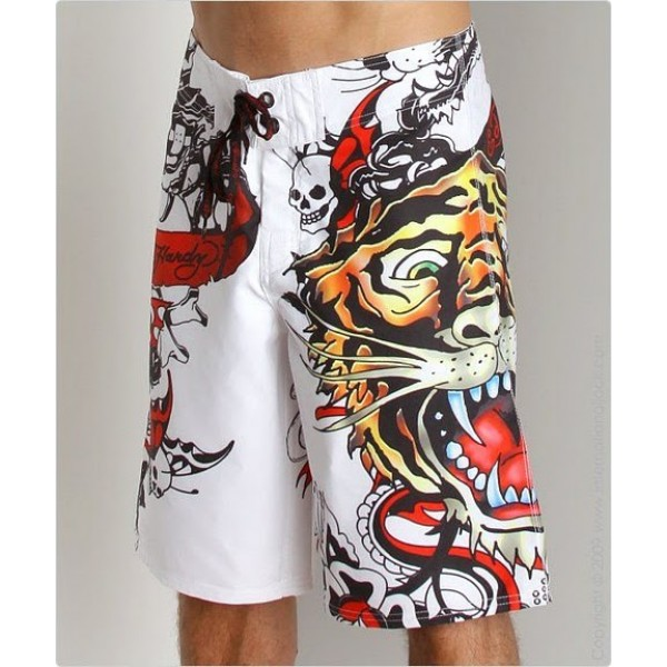 Buy Mens Ed Hardy Beach Shorts US White Tiger