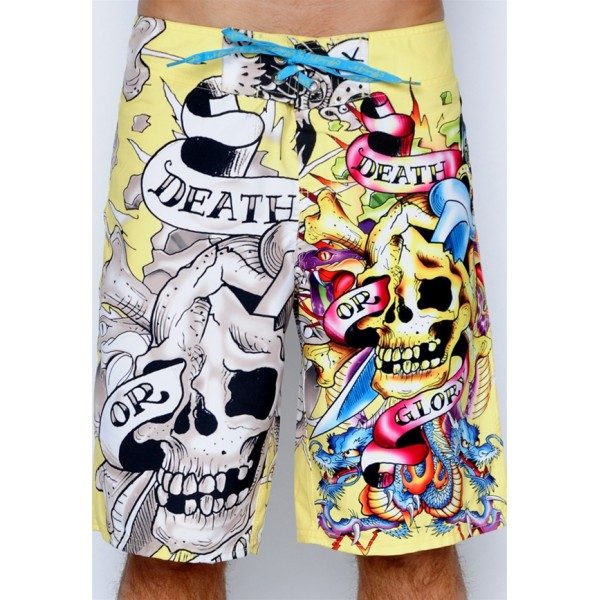 Ed Hardy Death Or Glory Beach Shorts For Men