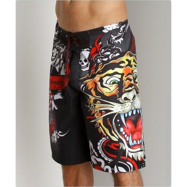 Pictures Of Ed Hardy Mens Beach Shorts Black Tiger