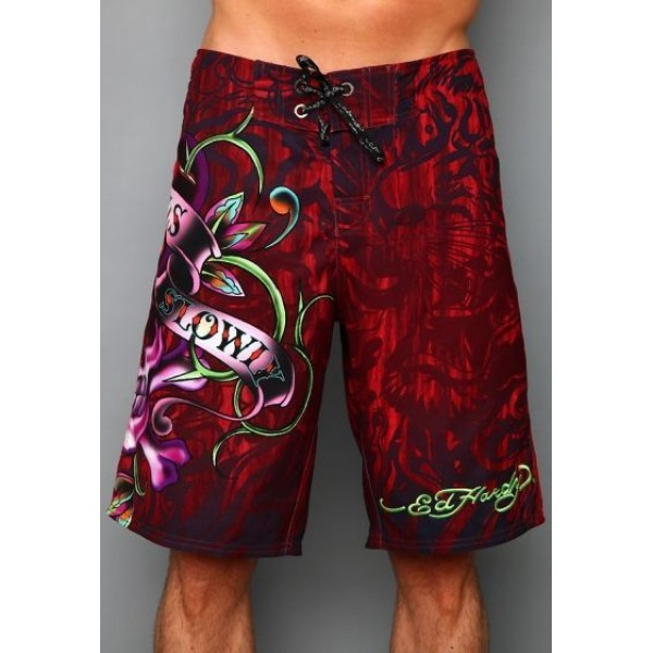 Red LKS Ed Hardy Mens Beach Shorts UK Shop