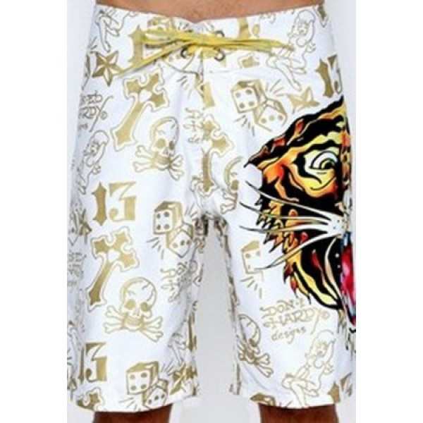 White Tiger Ed Hardy Mens Beach Shorts UK Sale