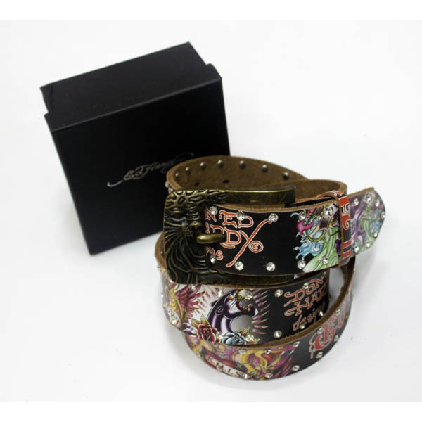 Ed Hardy Belts Diamond Black Leopard Black