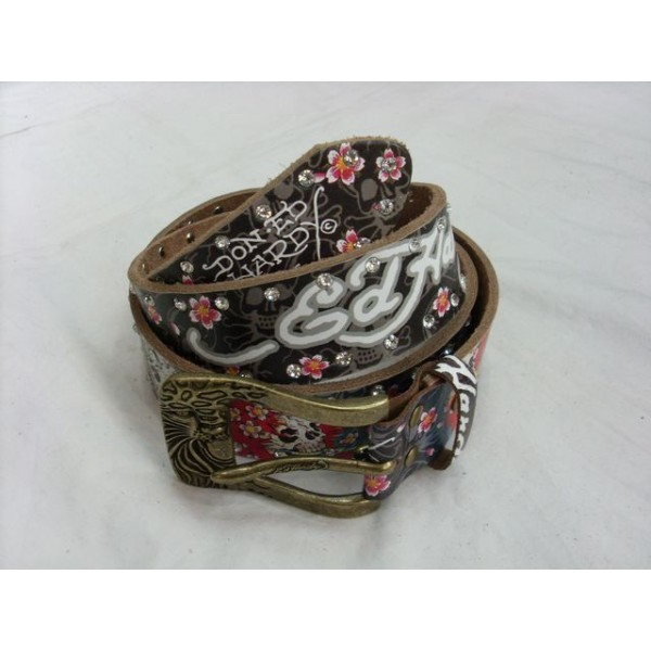 Ed Hardy Belts Diamond Bolt Skull Flowers Black