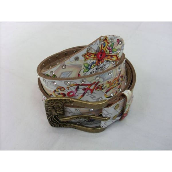 Ed Hardy Belts Diamond Cross Butterfly White