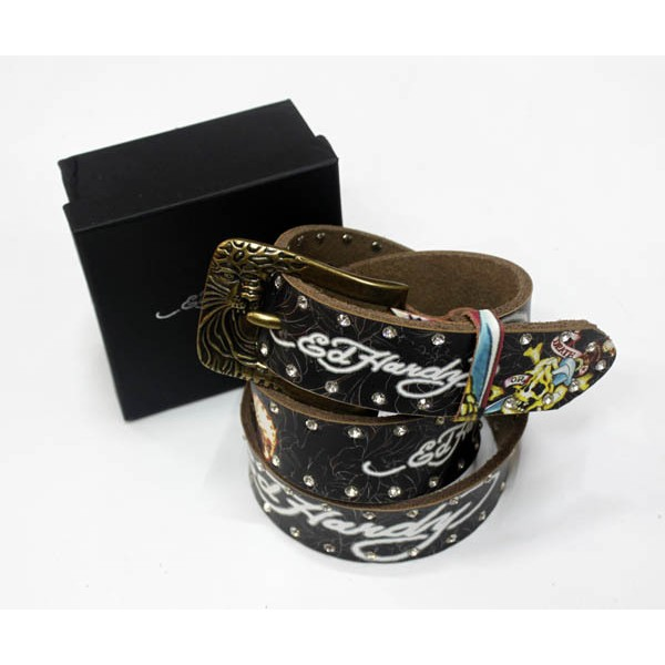 Ed Hardy Belts Diamond Dagger Skull Black