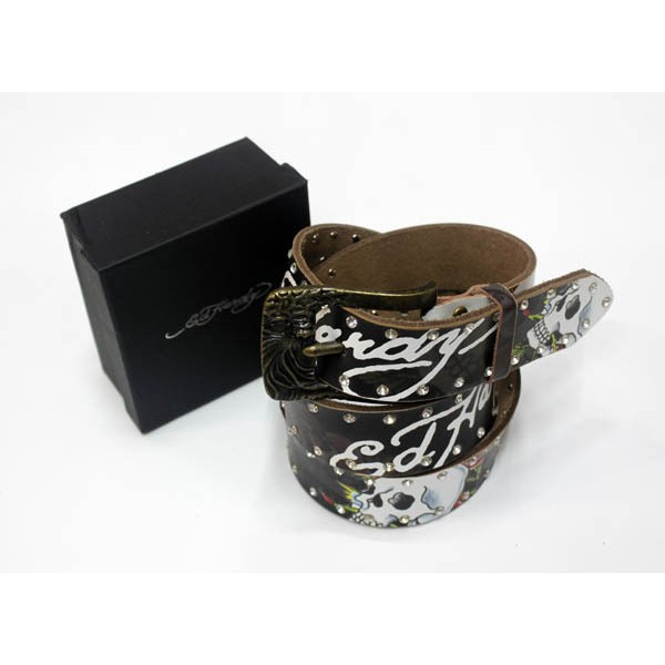 Ed Hardy Belts Diamond Flowers Skulls Black