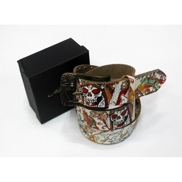 Ed Hardy Belts Diamond Geisha Skull White