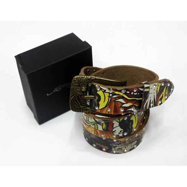 Ed Hardy Belts Diamond Geisha Yellow