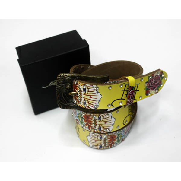 Ed Hardy Belts Diamond Lotus Rose White Yellow