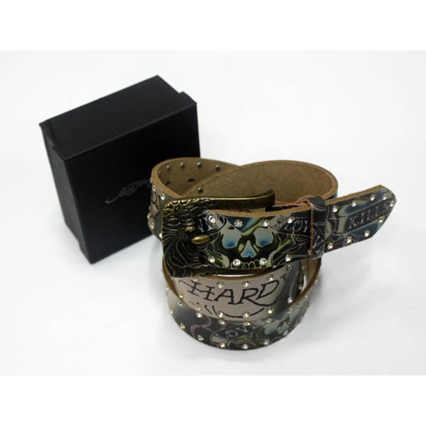Ed Hardy Belts Diamond Love Kill Slowly Green