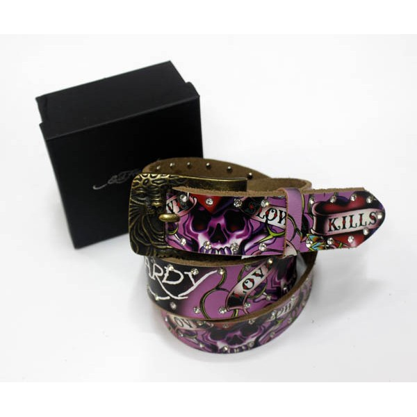 Ed Hardy Belts Diamond Love Kill Slowly Pink
