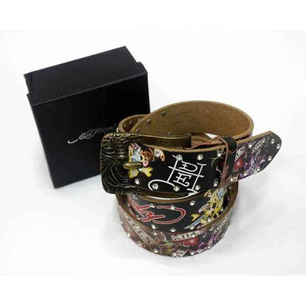 Ed Hardy Belts Diamond Skulls Black