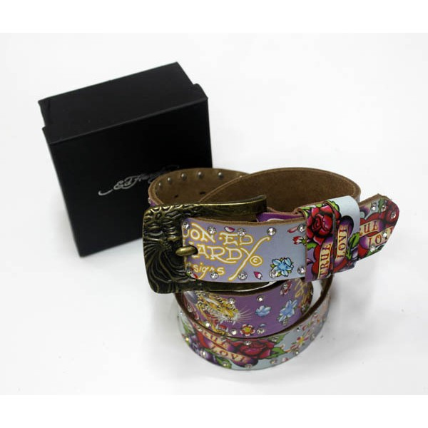 Ed Hardy Belts Diamond Tiger Purple Flowers