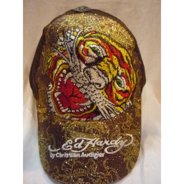 Christian Audigier Ed Hardy Caps Tiger Brown