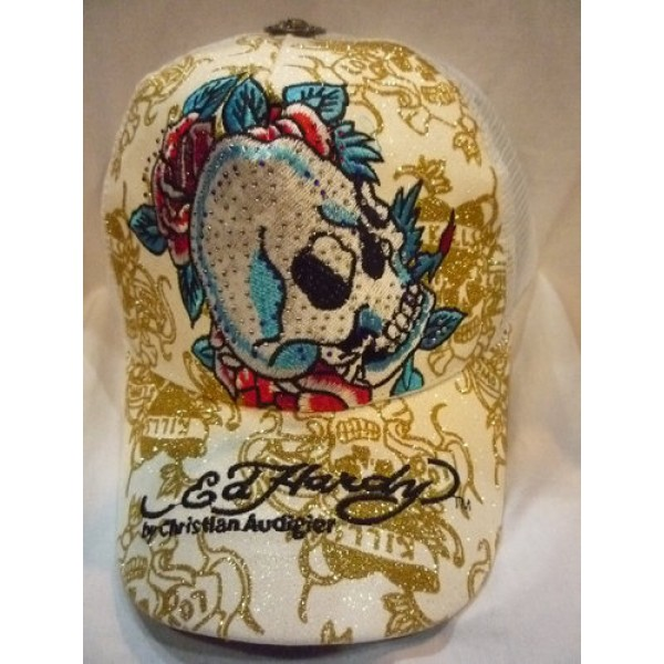 Discount Ed Hardy Caps White Skull Style