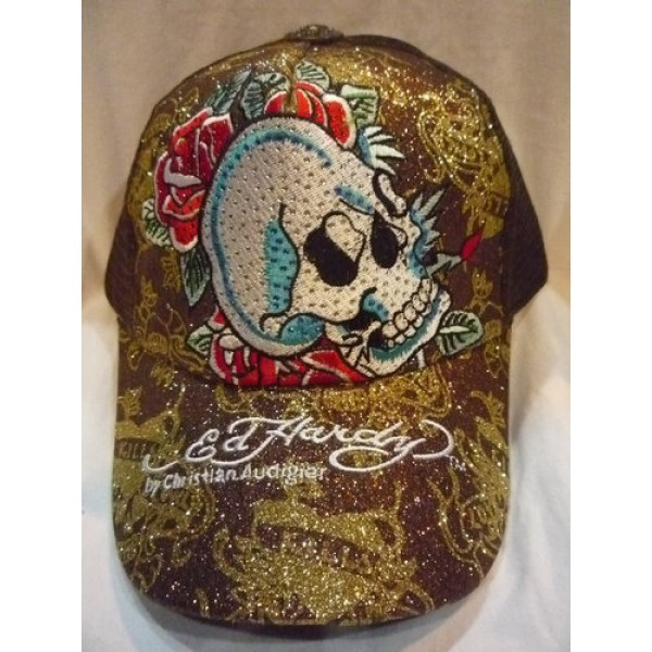Don Ed Hardy Caps Brown Skull Sales
