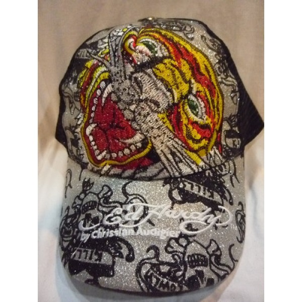 Don Ed Hardy Caps Designs Tiger Silver UK