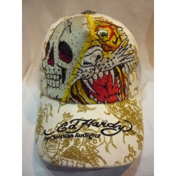 Ed Hardy Factory Outlet Caps White Skull Tiger