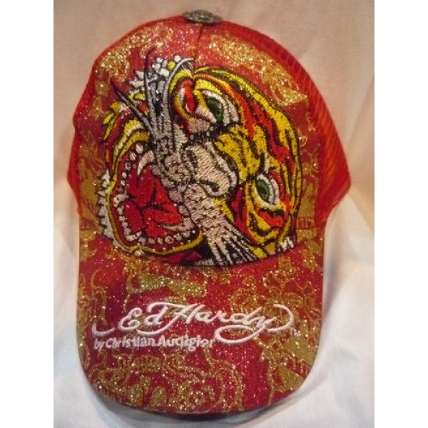 Sale Ed Hardy Shop Online Caps Red Tiger