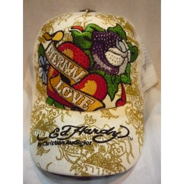 Shop Ed Hardy Caps White Love For Sale
