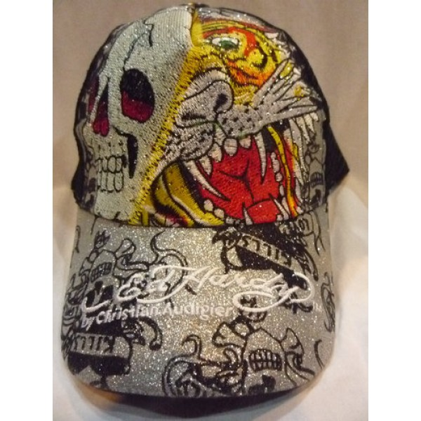 Tattoo Designs Ed Hardy Caps Tiger Skull Silver