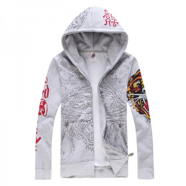 Buy Ed Hardy Hoodies Store Online Grey Tiger