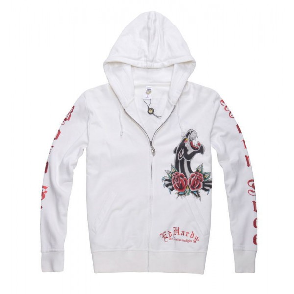 Cheap Ed Hardy Mens Hoodie Clothing White Black Leopard