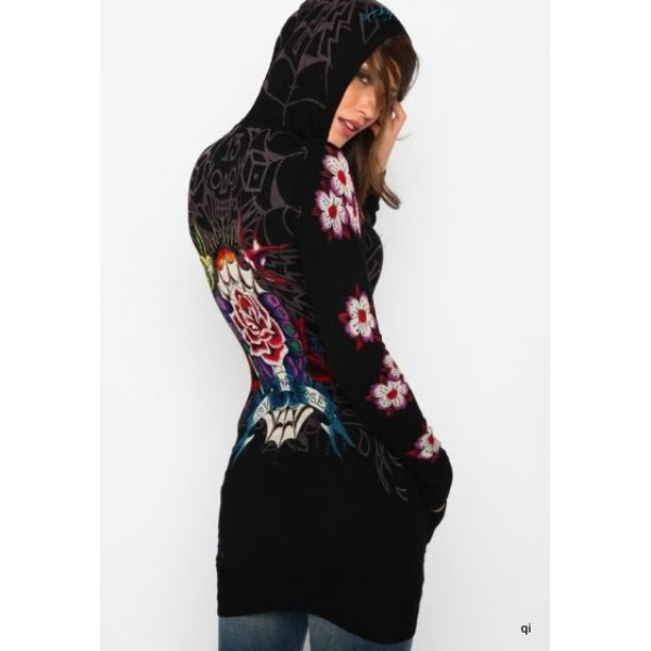 Christian Audigier Hoodies Beautiful Flowers Black For Women