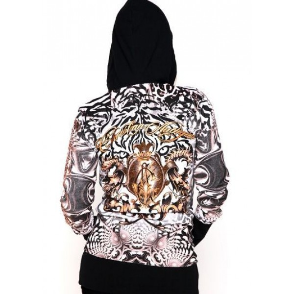 Christian Audigier Hoodies Leopard Black For Women