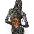 Christian Audigier Hoodies Print Tiger Black For Women