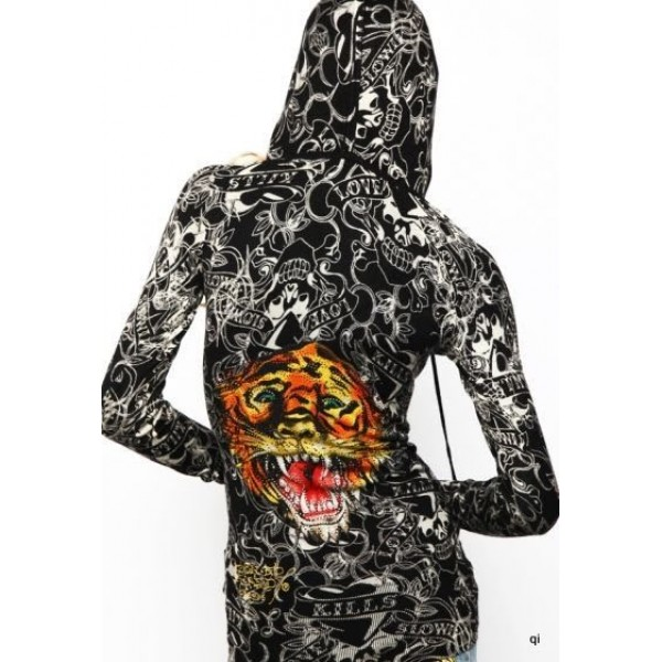 Christian Audigier Hoodies Print Tiger Black For Women