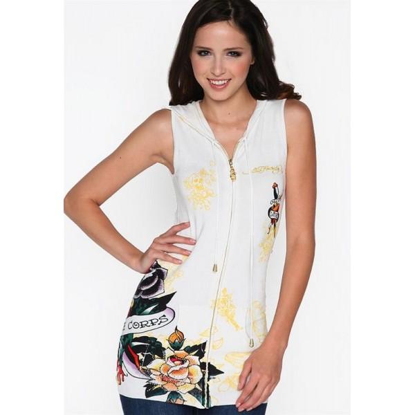 Clothing Womens Ed Hardy Hoodies White Rose UK