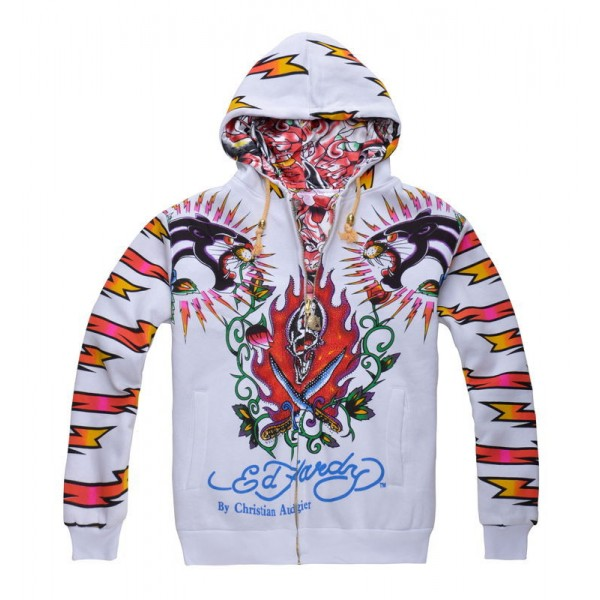 Discount Ed Hardy Hoodies UK Bolt Leopard For Men