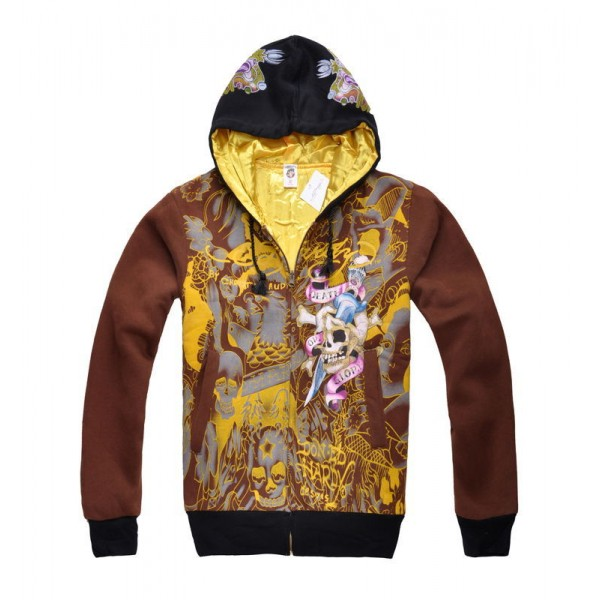 Don Ed Hardy Hoodies UK Style Chocolate Clothing