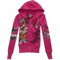 Don Ed Hardy Hoodies Womens Store Online Rose Red