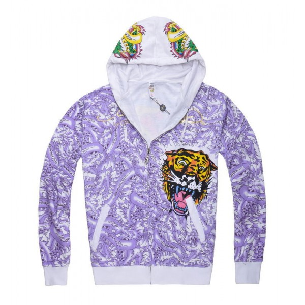 Don Ed Hardy Mens Hoodies Tattoos Purple Tiger Cobra