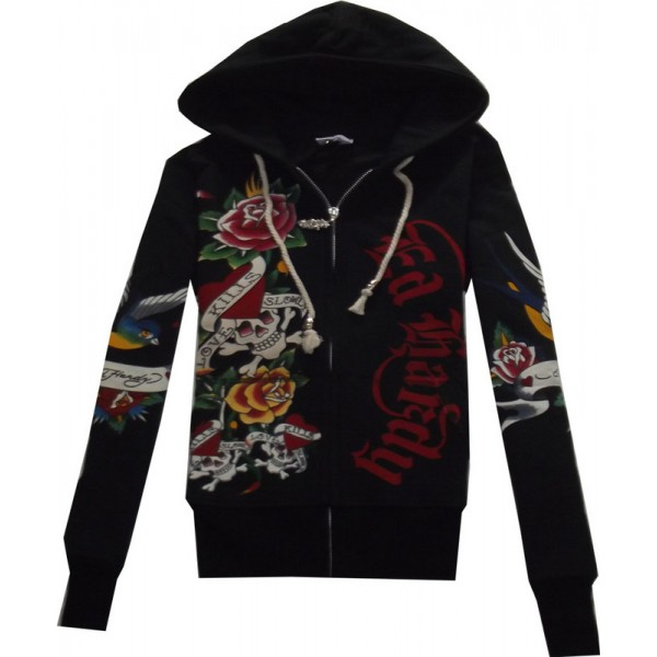 Don Ed Hardy Plus Size Hoodies Ladies LKS Black
