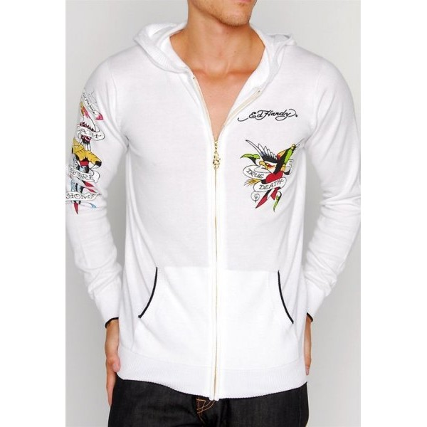 Ed Hardy Clothing Store Hoodies UK White Tiger