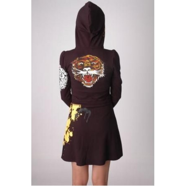 Ed Hardy Dress Hoodies Black Tiger For Women