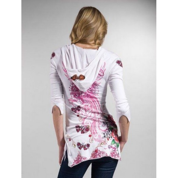 Ed Hardy Dress Hoodies Phoenix Rose White For Women